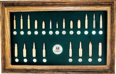 In this collection of military and commercial handgun and magnum cartridges, youll find calibers from .17 up to .50. Adoption of the M-16 and M4 by the U.S. Military over the last 50 years has lead to the popularity in the civilian and police market of semiautomatics and automatics. The AR platform has contributed to its seemingly limitless configurations making it one of the most popular rifles on the market. Teal background.Dimensions: 10.5H x 17W. - $199.99