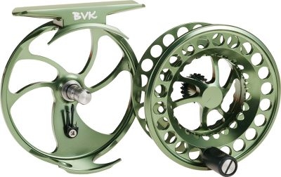 "Flyfishing A lighter-weight version of the BVK, the Click offers click and pawl drag, perfect for the small stream trout fisherman. Reel and spool are precision-machined from bar-stock aluminum and ported to eliminate excess weight. Easy left-hand to right-hand conversion. Weight (oz.): 2.1. Type: Freshwater Fly Reels. Reel Model: Click-O. Fly-Line Weight: 0-3. Diameter (in.): 2.75"". Backing Capacity: 50 yds./20 lbs./WF1. Bvk Reel 0 Moss. - $159.95"