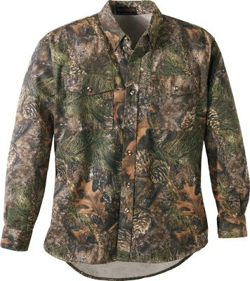 Hunting An unbeatable price on an all-around rugged hunting shirt. True Timbers Mens Cotton-Twill Seven-Button Shirt is constructed of brawny 7-oz. polyester/cotton, and will stand up to years of tough hunting conditions. Seven-button front. Imported. Sizes: S-2XL. Camo patterns: True Timber MC2 , True Timber HTC Fall. Size: MEDIUM. Color: Timber MC2. Gender: Male. Age Group: Adult. Pattern: Camo. Material: Polyester. - $7.88