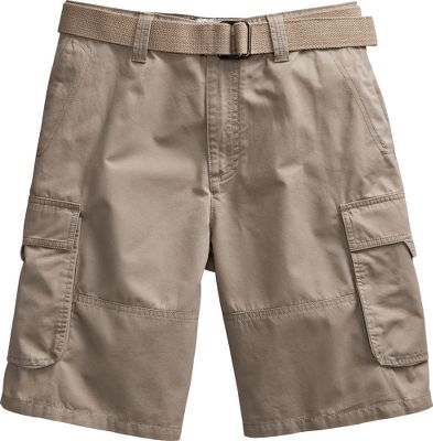 "Crafted for adventure and comfort, these weather-resistant, six-pocket shorts come ready for action with a belt. 100% cotton twill is enzyme-silicone-washed for a soft hand. Imported. Inseam: 10"". Sizes: 30-42.Colors: Brown, Dark Khaki, Oatmeal, Pasture. - $12.99"