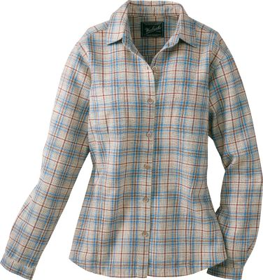 "Soft, 100% cotton flannel with a femininely shaped fit. Shirttail hem. Imported. Center back length: 26"". Sizes: S-2XL. Colors: Multi, Ultra Violet, Herb, Spruce. - $39.00"
