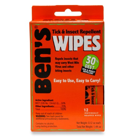Camp and Hike You'll enjoy the outdoors more this summer if you're not swatting ticks and mosquitoes; Ben's 30% DEET Formula Insect  Repellent Wipes save the day! - $6.00