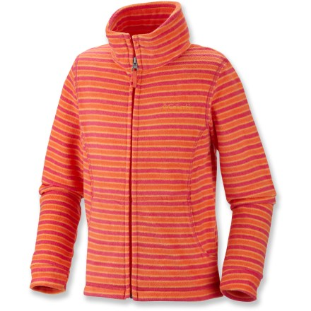Keep your toddler looking stylish as she ventures outdoors in the Columbia Explorer's Delight(TM) Printed Fleece jacket. Bright colors liven things up when the weather turns gray. Omni-Wick(TM) technology works to move moisture away from skin, keeping her dry and comfortable. Warm, breathable midweight fleece is cozy without being heavy. High collar adds warmth; full-length zipper allows for ventilation and temperature control. - $14.83