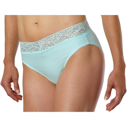 Surf The ExOfficio Give-N-Go Lacy bikini is a great choice for those who like to travel. Stretch nylon/spandex blend fabric moves moisture away from the skin and dries quickly. Stretch lace waistband. Closeout. - $14.93