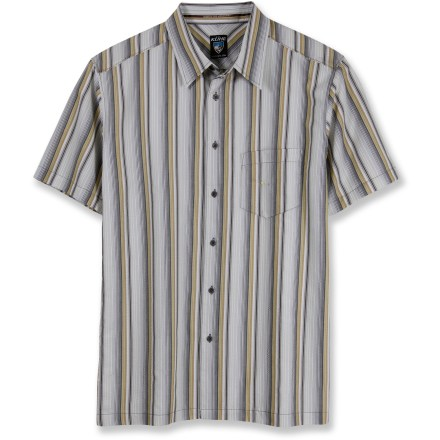 The Kuhl Tornado Striped shirt is ready for whatever your day may bring. Blend of recycled polyester and organic cotton delivers comfort and style that you can feel good about. Contrasting stitch details add appeal. Left chest pocket stashes essentials. The Tornado Striped shirt features Kuhl metal buttons on the front placket. Closeout. - $34.93