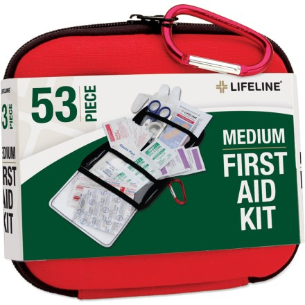 Camp and Hike Be prepared for cuts, scrapes and stings with the Lifeline Medium first-aid kit. Includes ten 1.5 x 0.375 in. bandages, ten 3 x 0.75 in. bandages, 1 knuckle bandage, 1 knee/elbow bandage, two 2 x 2 in. gauze pads and two 3 x 3 in. gauze pads. Also contains 10 alcohol prep pads, 6 antiseptic towelettes, 3 sting relief pads, 2 vinyl gloves, 1 pair of tweezers, 1 pair of scissors and a roll of adhesive tape. First-aid guide gives you information on treating wounds. All items are packaged in a hardshell foam case; includes a small accessory carabiner for clipping the case to a backpack. - $15.00