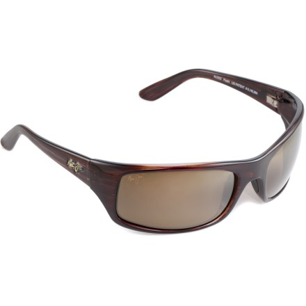 Entertainment Like the bay they were named for, the Maui Jim Peahi sunglasses boost colors in a big way, providing shade your eyes from the sun's harmful rays and reducing glare from water, sand and snow. - $229.00