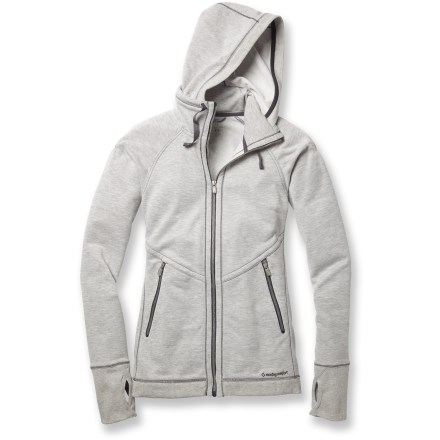 Fitness With the look and feel of your favorite cotton hoodie, this Moving Comfort Urban Gym Full-Zip top is designed to keep you comfortable during workouts. Polyester fabric offers moisture wicking, quick-drying comfort before, during and after workouts. High collar design with hood features an adjustable drawstring to help dial in the fit. You can instantly adjust your comfort with the full-length zipper. Cuffs feature thumb holes to help keep sleeves in place and warm hands. Zippered pockets shelter hands and internal pocket is designed to fit a smartphone. You'll feel free to move without restriction thanks to the set-in sleeves. The semifitted Moving Comfort Urban Gym Full-Zip top moves with you during activity without binding. - $58.93