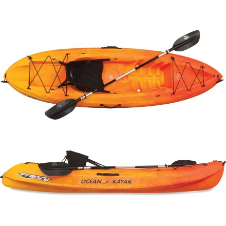 Kayak and Canoe The Ocean Kayak Frenzy(TM) sit-on-top kayak with paddle has been designed with a single purpose in mind-having fun on the water. Perfect for kids and the kid at heart, the short length and open cockpit design is stable and user-friendly, even for beginners. Take the Ocean Kayak Frenzy out in flat water, moderate ocean swells, or slow-moving rivers for nature-watching, surfing, fishing and all-around fun. Molded-in foot wells create a comfortable paddling position, and a cup holder keeps a beverage within easy reach. Adjustable, padded seat offers comfort for hours of paddling. Hull design allows Frenzy kayaks to nest together (up to 3 boats high) for easy storage in garage, the backyard, or at the cabin. Includes self-bailing scupper holes, bow and stern storage, accessory eyelets, removable bungees, drain plug and carry handles. To manage water flooding through scupper holes, Scupper Stoppers are available (sold separately); the Frenzy requires four medium Scupper Stoppers. Includes a 230cm Carlisle Day Tripper 2-piece, aluminum-shaft paddle. Asymmetrical blade design with dihedral shape allows a smooth, efficient stroke and helps lessen fatigue. Lightweight aluminum shaft is ovalized for an easy grip. Push-button breakdown allows easy storage and adjusts blade feathering from either 0deg or 60deg angle for either right- or left-handed control. - $459.00