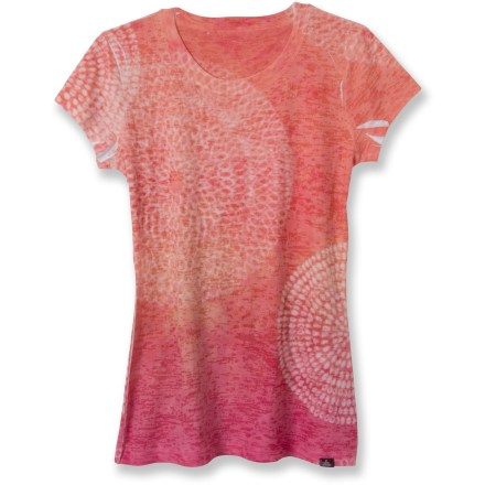 The prAna Spiral T-shirt has wonderful visual appeal for a one-of-a-kind look any day of the week. prAna Spiral T-shirt is sheer, delicate and modern in a lightweight, easy-care burnout fabric. Allover sublimation print. - $26.83