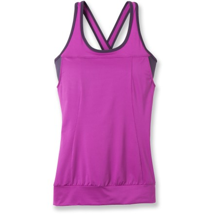 Fitness The eye-catching prAna Gabrielle tank top blends performance and style. Quick-drying recycled polyester and spandex fabric blend is a great choice for light exercise. Internal shelf bra with removable molded cups offers light support. The prAna Gabrielle tank top moves with you thanks to its 4-way stretch. - $34.83