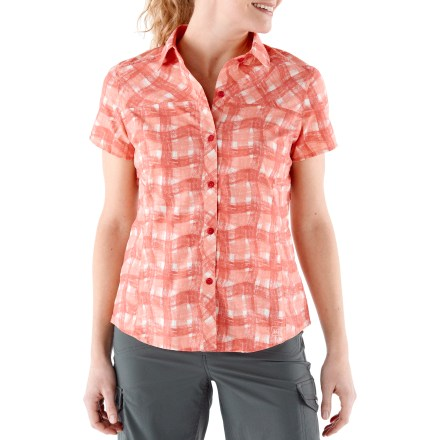 Camp and Hike Worn and tested by REI Adventures guides, this travel-ready shirt for women has details galore to help keep you cool and comfortable in sunny climates. Easy-care, lightweight micro-ripstop nylon wicks moisture, dries incredibly fast and delivers very good sun protection with a 40 UPF rating. Vent across back yoke allows easy airflow and secures with rip-and-stick tabs to keep it in place. Hidden zippered vents at princess seams enhance airflow from front to back; vents are strategically placed so they won't get in the way of pack straps. Moisture-wicking polyester mesh lines collar stand, shoulder yoke and side-seam vents. REI Sahara shirt has a low-profile zip security pocket next to the lower front placket. - $28.93