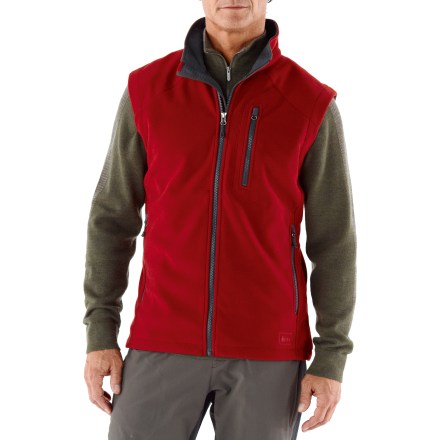 Camp and Hike Count on the REI Windbrake Thermal vest for shiver-free core protection. This is our warmest, wind-blocking fleece vest. Breathable, non-bulky heavyweight polyester fleece vest has a highly abrasion-resistant face, a wind-resistant laminate and a gridded fleece backing; blocks wind to 50 mph. REI Windbrake Thermal vest insulates even when damp, dries fast and has a Durable Water Repellent finish to shed moisture. Windflap behind front zipper and a drawcord hem add weather protection. Zip hand pockets and zip chest pocket; 2 mesh interior drop-in pockets. Active fit provides for a full range of motion; flat non-chafing seams let you move and layer comfortably. - $47.93