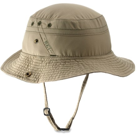 The boys' REI Sahara Bucket hat is great for wilderness adventures or backyard forays. It easily stashes in a backpack to be pulled out when extra sun protection is needed. Fabric provides UPF 30 sun protection, shielding skin from harmful ultraviolet rays. Durable nylon fabric offers a comfortable, broken-in look and feel; polyester sweatband absorbs moisture. The REI Sahara Bucket hat features a brim with snap-up sides. - $13.93