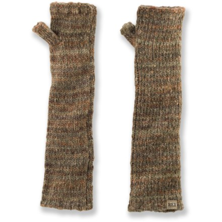 The REI Variegated arm warmers are just what you need when you want to keep the chill off your arms but don't need the warmth of a jacket. Soft acrylic/wool/polyester blend offers good warmth. Extended coverage with thumb holes keep sleeves in place. REI Variegated arm warmers are 14 in. long. - $11.83