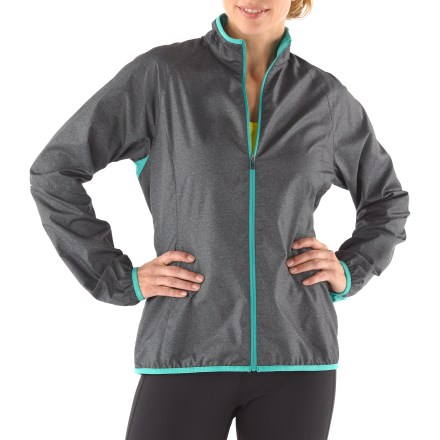 Fitness The women's REI Fleet jacket offers reliable protection from chills during your workout and packs into its own rear pocket to make it easy to carry on the run. Tightly woven polyester fends off wind without making you sweat, and a Durable Water Repellent finish protects from light rain. Mesh panels under arms and at cuffs enhance ventilation, and seams are designed to move with you during activity. Loop at upper back increases visibility and hangs jacket out to dry. Rear zip pocket features a media port for your headphones that routes through jacket and out through a port in the collar; design reduces annoying cord bounce when jogging. Jacket packs into rear zippered pocket. Reflective highlights increase visibility in dim light. The women's REI Fleet packable jacket offers an active fit that provides a full range of motion. - $54.50