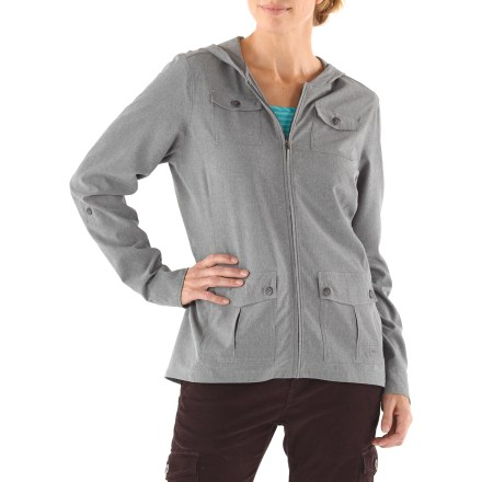 Entertainment The Northway Travel jacket has a hood and cargo pockets and a quick-drying personality. It's a fine cross between a shirt and a jacket and may just end up being your favorite travel companion. Durable fabric offers comfortable stretch and lightweight protection; it also resists wrinkling, so throw it in your bag and don't give it a second thought. Shaped flip-up hood adds quick protection. Long sleeves with button closures at the wrists also roll up and secure with button-close tabs. Drop tail adds movement-friendly coverage. Low-profile chest and hand cargo pockets have button-close flaps; concealed zip pocket behind right pocket stows passport. REI Travel jacket offers a classic, easy-wearing fit. - $79.50