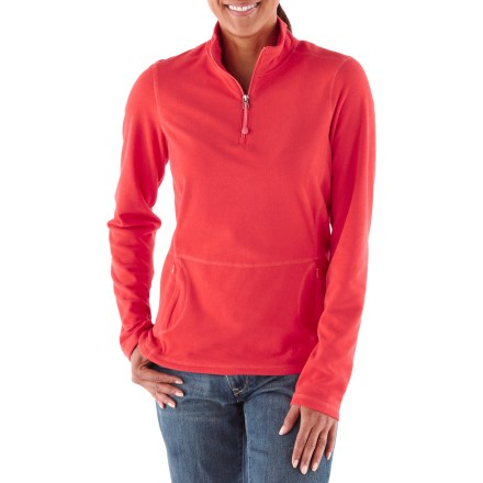 The Mossyrock Half-Zip top is a cozy fleece pullover made for chilly weather-lightweight enough to put in your pack and cute enough to wear around town. Brushed 100-weight microfleece is soft, pill-resistant and dries in under 4 hours; flatlocked seams reduce abrasion and bulk. Mock neck zips up for warmth or down for ventilation; elastic cord zipper pull can be used for an emergency hair tie. Thumbholes secure sleeves and warm hands. Zip hand pockets. Modern fit follows the body's contours without being tight. - $54.50