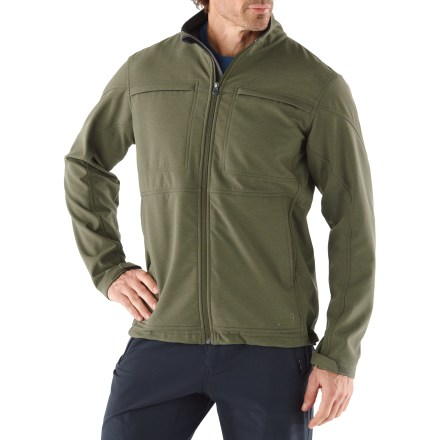 The Sheridan jacket from REI offers versatile soft-shell performance while its urban-savvy design renders it ideal for travel and around-town wear. Comfortable, bonded polyester soft-shell fabric is water resistant and blocks wind to 15 mph; it features a lightweight fleece inner face for moderate warmth. Durable Water Repellent finish fends off light rain showers and snow. Includes a windflap behind the front zipper; collar has soft tricot lining and a chin guard. Drawcord hem and adjustable cuffs. Zippered hand and chest pockets; inside chest pocket includes a cord port. The REI Sheridan jacket has a classic, easy-wearing fit. - $63.83