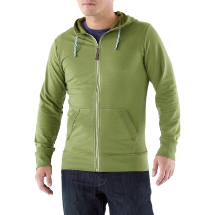 Fitness The men's REI Sariska Full-Zip hoodie swaddles you in comfortable, stretchy fabric that's designed to perform in the yoga studio and beyond. Soft fabric manages moisture and offers just enough warmth to get you to and from the yoga studio in comfort. Fabric provides UPF 50+ sun protection, shielding skin from harmful ultraviolet rays. Cotton and spandex is blended with recycled S.Cafe(R) polyester that incorporates recycled coffee grounds to help fabric wick moisture. 3-panel hood is shaped for an excellent fit. 2 pockets warm up chilly hands. The active fit of the men's REI Sariska Full-Zip hoodie provides a full range of motion. - $47.93