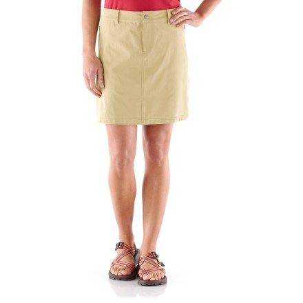 The REI Rendezvous skort is an obvious choice when you're packing for any trip; it sports an easy fit, hidden pockets, and classic, low-key style that never looks out of place. Tough yet light nylon material with added 4-way stretch provides lightweight coverage that stays comfortable all day and dries quickly, allowing you to wash and wear with ease. With a UPF 50+ rating, fabric provides excellent protection against harmful ultraviolet rays. Knit undershorts with 4-way stretch are extremely comfortable, not bulky or annoying. Waistband features belt loops and an adjustable internal drawcord for a personalized fit; secures with zip fly and snap closure. Skort offers zip hand pockets and zippered back pockets. REI Rendezvous skort offers a classic, easy-wearing fit. - $40.93