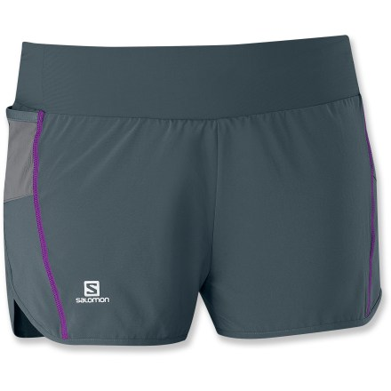 Fitness The Salomon Light shorts feature the perfect amount of coverage for long runs or tough treadmill workouts. Lightweight fabric and liner shorts wick moisture and dry quickly. Adjustable drawstring keeps shorts in place as you bound across the trail; 2 elastic pocket stores extras and are shaped to hold gel packets. Shorts feature reflective Salomon logos on front and back for visibility in low light. The Salomon Light shorts offer an active fit that moves with you during exercise. - $39.93