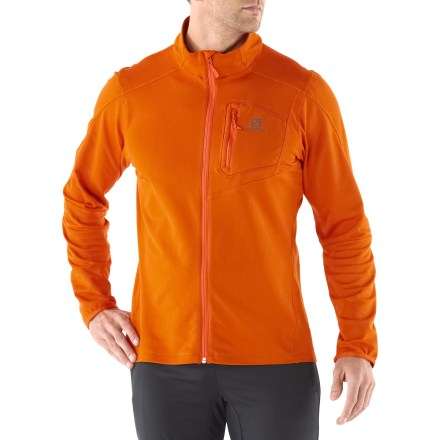 Fitness In the sleek comfort of the Salomon Discovery Full-Zip Midlayer top, cool-weather runs lose their chill. - $41.83