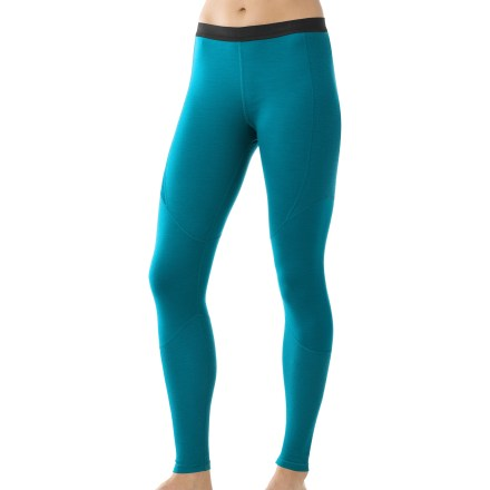 These SmartWool lightweight long underwear bottoms for women stretch and breathe for comfort during continuous aerobic activity. 100% super-fine merino SmartWool helps maintain a comfortable temperature whether it's hot, cold or in between. Fabric provides UPF 35 protection from harmful solar rays. Slim waistband with soft lining provides a clean fit. Flatlock side seams help eliminate chafing. Machine wash and dry for easy care. Closeout. - $49.93