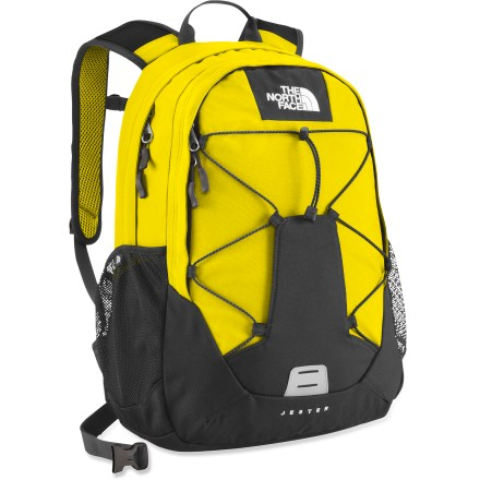 Camp and Hike The North Face Jester backpack totes your books, binders and school supplies or essential gear for an outdoor day on the trail. Flexible, ventilated shoulder straps are injection-molded; stitched foam back panel helps protect your back from bulky textbooks and lets you carry your load in comfort. Large main compartment offers ample storage space for large items; front organizer pocket helps keep small items from getting lost. Strap a travel mug, bike helmet or extra clothing onto the external bungee system. Dual side mesh pockets provide easy access to water bottles or snacks. The North Face Jester backpack features a removable hipbelt and a top carry handle. Closeout. - $32.73