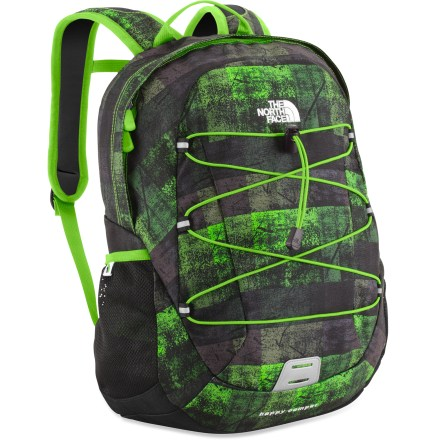 Camp and Hike The North Face Happy Camper pack will make your little ones smile. It's sized just for them so they'll love carrying around their camp necessities or school supplies. Youth-specific shoulder straps feature a sternum strap to keep the pack close; stitched-foam back panel supplies comfort. Large main compartment is sized to fit standard folders, books and other items; internal mesh zippered pocket. Front features an adjustable bungee cord for stashing quick-access items. Side mesh pockets keep water bottles close. The North Face Happy Camper pack features a reflective light loop patch (clip-on light not included). Closeout. - $29.93