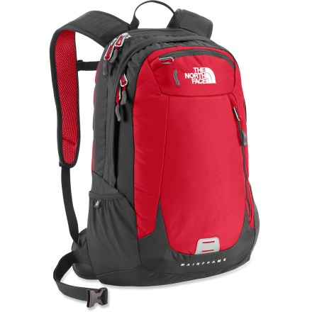 Fitness You run a busy life. The North Face Mainframe pack keeps your daily necessities organized and ready to go. FlexVent(TM) shoulder straps and back panel were designed in partnership with the American Chiropractic Association to offer a new standard in load-carrying comfort. Injection-molded shoulder straps alleviate clavicle hot spots, pressure points and neck strain. Comfortable air-mesh back panel features a recessed channel to take pressure off your spine; polyethylene framesheet offers load support. Padded hipbelt can be stowed out of the way when not in use. Large main compartment features an organizer panel. Zippered compartment accommodates most 15 in. laptops. Front tricot stash pocket and front vertical stash pocket for quick-access items. Side zippered pocket is perfect for stowing your laptop power cord. Stretch-woven side pocket keeps your water bottle within reach. The North Face Mainframe pack is endorsed by the American Chiropractic Association. Closeout. - $79.73