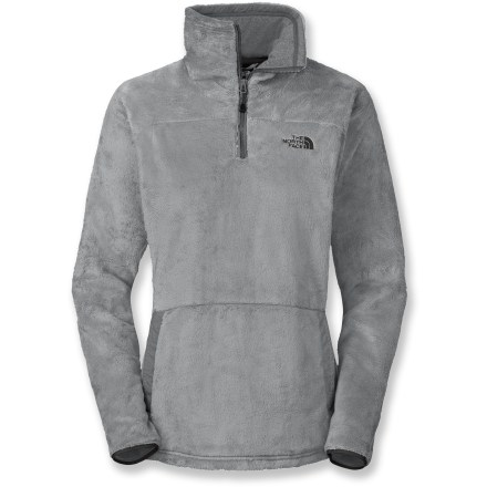 The North Face Mossbud Half-Zip pullover is constructed from a supersoft fleece that your skin will love. It keeps you warm and cozy on winter nights in front of a fire or on cold-weather treks. Cozy, silken fleece holds in warmth, breathes well, wicks moisture and continues to insulate even when damp. Half-zip silhouette features an extended collar that lets you zip up the fleece to your nose for extra warmth; zip it down when you want to vent. Knit fabric at collar wicks moisture; stretch binding at cuffs. The North Face Mossbud Half-Zip pullover features a front kangaroo pocket. Closeout. - $41.83