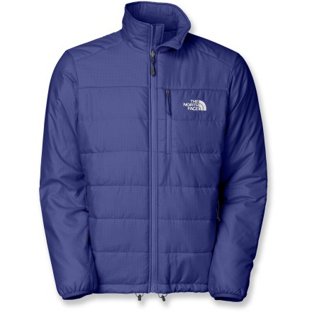 The North Face Redpoint jacket uses synthetic down to provide exceptional warmth suitable for everyday wear, while staying lightweight and easy to pack. It's also a great layering piece. Ripstop nylon outer shell, PrimaLoft(R) Eco synthetic insulation and taffeta lining offer lightweight warmth and quick-drying, wind-resistant protection. PrimaLoft Eco uses a minimum of 50% recycled materials in combination with standard PrimaLoft fibers. Brushed collar lining is soft next to skin. Elastic cuffs and drawcord hem seal out the elements. Features a chest pocket and hand pockets; left hand pocket stows your jacket. The North Face Redpoint jacket features a standard fit that ensures great freedom of motion and easy layering. Zip-in integration feature lets you zip jacket into compatible shells and parkas from The North Face. Closeout. - $101.93