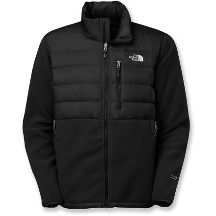 The North Face Denali Down jacket uses heavyweight Polartec(R) fleece and adds lofty goose down insulation-just when you thought this iconic jacket couldn't get any better. Breathable Polartec(R) 300 Series fleece warms even when wet and dries quickly. Insulated at the shoulders and chest with a lofty, 550-fill-power goose down insulation for additional thermal warmth in the cold. Durable, abrasion-resistant 2-ply nylon fabric aids with wear and tear while carrying a pack. Elastic-bound cuffs and drawcord hem. 2 zip-secure hand pockets and a Napoleon chest pocket. Zip-in integration feature lets you zip the Denali Down jacket into compatible shells and parkas from The North Face. Closeout. - $69.73