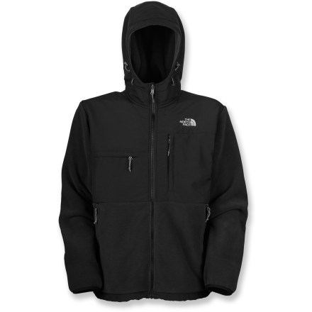 The North Face Denali men's hoodie offers all the comfort and quality of the iconic jacket, but goes the extra mile with an attached hood that adds warmth and protection for truly cold days. Exceptionally warm, recycled heavyweight Polartec(R) 300 Series fleece is treated with a Durable Water Repellent finish to shed water. Abrasion-resistant, 2-ply nylon reinforcements on upper body, elbows and hood provide extra durability and weather resistance. Drawcord hem and elastic-bound cuffs help seal in warmth. The North Face Denali Hoodie features zippered hand pockets and 2 zip chest pockets. Regular fit eases layering. Integration feature lets you zip jacket into compatible shells and parkas from The North Face. Closeout. - $89.83