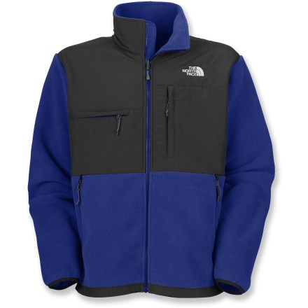 The North Face Denali fleece jacket is a modern outerwear classic and for good reason: Warm, insulating fleece and water-resistant nylon work together to protect you from cold, wintry weather. Polartec(R) 300 Series fleece (87% recycled content in the solid colors and 65% in the heathered) is warm, lightweight and compressible. Durable Water Repellent finish fends off light rain showers and snow. Abrasion-resistant, laundered 2-ply nylon on upper body and elbows provides reinforcement and durability. Pit zippers enhance ventilation. Features zippered hand pockets, a Napoleon chest pocket and a horizontal chest pocket. Elastic-bound cuffs and hem drawcord. Standard fit. Wear the Denali jacket on its own or zipped into compatible parkas from The North Face. Closeout. - $78.83