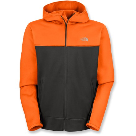 The North Face Surgent full-zip hoodie combines comfort and style to make it ideal for warm ups, cool downs, and everything in between. With built-in stretch, the polyester fleece fabric is warm and breathable. Thumb loops prevent sleeves from riding up. On-seam zippered pockets let you stash small workout extras, and internal pocket stores a media player. UPF 50+ sun protection shields skin from harmful ultraviolet rays. The North Face Surgent full-zip hoodie has a relaxed fit. Closeout. - $43.93