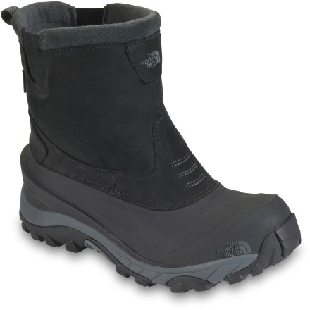 No more frozen toes! The North Face Arctic Pull-On II winter boots deliver waterproof protection and a cozy -25degF comfort rating for all-around winter use. Waterproof nubuck leather uppers are seam sealed to keep feet dry; slip-on design features elastic side gores for easy entry and exit. 200g PrimaLoft(R) Eco recycled polyester insulation ensures warmth and comfort in conditions to -25degF during active use. Fleece collars and tongue linings help move moisture away from your feet for added comfort. Compression-molded EVA midsoles provide lightweight, flexible and impact-resistant cushioning. Injection-molded nylon shanks deliver torsional stability while reducing cold temperature conductivity. Winter Grip(TM) rubber outsoles on The North Face Arctic Pull-On II winter boots grip snow and wet surfaces for solid traction. Closeout. - $83.93