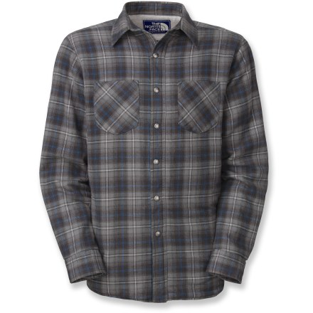 The Trapper Flannel shirt from The North Face features an insulated, quilted interior that raises this flannel shirt above the rest, offering superior warmth and classic style. 60g Heatseeker(TM) insulation offers lightweight warmth. Metal snap closures along front placket add vintage charm. Side-seam hand pockets; 2 chest pockets. The North Face Trapper Flannel shirt features snap button cuffs. Closeout. - $54.73