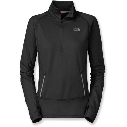 The versatile North Face Bubblecomb Half-Zip top provides lightweight warmth with casual, pullover style to ward off the early-morning chill at the start of an outdoor adventure. Polyester/elastane blend offers ample 2-way, vertical stretch and wrinkle resistance. Fabric provides UPF 30 sun protection, shielding skin from harmful ultraviolet rays. Bubblecomb Half-Zip top has zippered hand pockets and thumb holes to retain warmth. Closeout. - $51.93