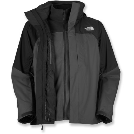 The North Face WindWall Triclimate 3-in-1 jacket pairs a weatherproof shell with a warm liner jacket, making it a great choice for adverse weather activities. HyVent(R) 2-layer construction offers waterproof, breathable, seam-sealed protection; performance lining wicks moisture from body to keep you warm and dry on the inside. Detachable contoured hood provides on-demand refuge from inclement weather. Front stormflap features rip-and-stick closures to help keep the wind out. Pit zippers let you vent body heat quickly. Internal chest pocket, exterior chest pocket and 2 zippered hand pockets. Drawcord hem helps keep the cold out. WindWall liner jacket adds warmth in moderate cold and provides excellent insulation when layered. WindWall fleece fabric cuts 80 to 95% of the wind while still allowing enough airflow to ensure a dry, comfortable fit. Bonded fleece lining enhances warmth and whisks moisture away from the body to the outside of the fabric for quick dissipation. The North Face WindWall Triclimate 3-in-1 jacket features 2 hand pockets. Closeout. - $184.93