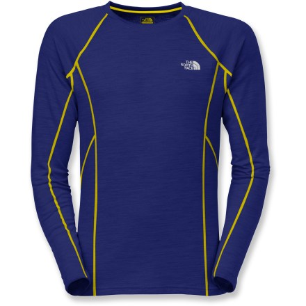Fitness The North Face Aries men's T-shirt combines merino wool and quick-dry polyester to keep you warm and comfortable during cold-weather workouts. Merino wool/polyester fabric provides a lightweight blend of warmth and natural moisture wicking. FlashDry(TM) microparticles embedded in the fabric to dramatically improve dry time and breathability. Made of crushed coconut shells and crushed volcanic rock, the FlashDry fabric additive leads to faster dry times and will not wash out. The North Face Aries T-shirt features reflective logos to boost your visibility in dim light. From the Flight Series(TM), developed by The North Face and tested by outdoor athletes; designed for done-in-a-day and weekend adventures. Closeout. - $30.73
