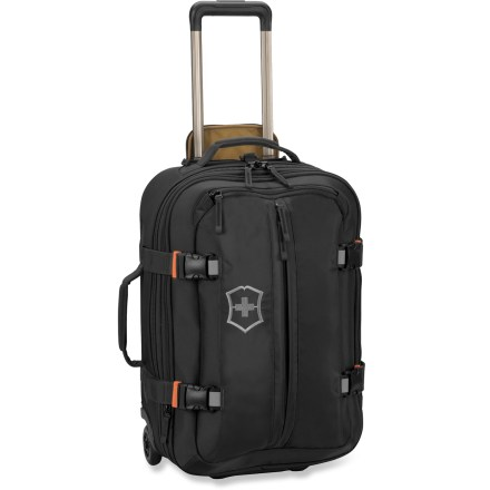 Entertainment The Victorinox CH 22 wheeled upright lets you expand its dept from 7.5 to 9.5 in. when you need some extra space. - $250.00