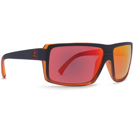 Entertainment Flashy, fun and high performance! These VonZipper Snark sunglasses provide 100% UV protection, superb impact resistance and a hip look that will boost your style points. Grilamid(R) lightweight nylon frames offer a consistent fit and flexibility at any temperature, and they are impact resistant. Lightweight and virtually shatterproof, polycarbonate lenses are 20 times more impact resistant than glass and one-third the weight. Black green glacier frames come with gray-tinted lenses for true color perception in bright conditions. Black orange avalanche frames come with brown-tinted lenses for enhanced contrast in bright light. Rugged stainless-steel hinges boost durability. VonZipper Snark sunglasses feature 6-base-curve lenses; (the higher the number the more curved the lens-VonZipper features sunglasses with 6, 8 and 9 base curvature). - $71.93