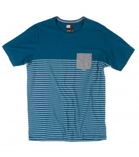 Surf O'Neill Panhandler Shirt.  100% Cotton jersey.  Yarn dye stripe crew with garment wash. Standard fit with chambray chest pocket and logo labels. - $20.99