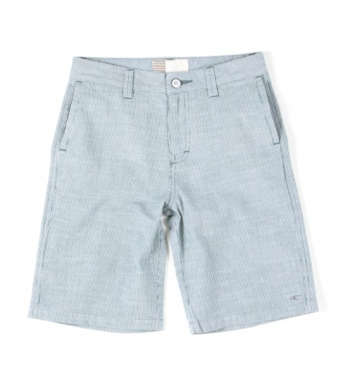 Surf O'Neill Kids Roosevelt Shorts. 100% Cotton. Yarn dye stripe walkshort with silicone wash. Standard fit; front welt pockets; snap back pockets; logo embroideries and labels. - $28.99