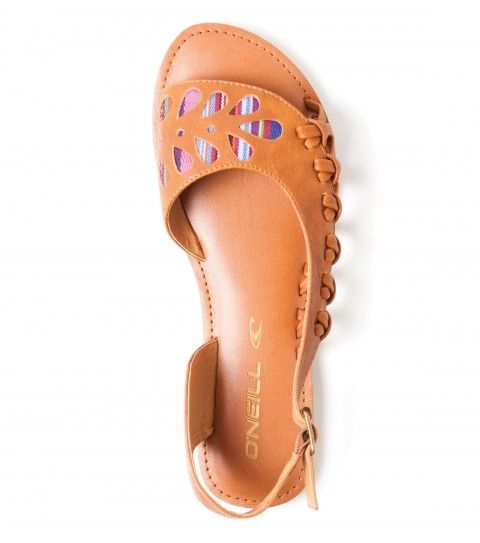 Entertainment O'Neill Zuma Sandals.  Faux leather upper with laser cut detail and yarn-dye fabric; metal buckle closure; faux leather wrapped sock; sandal bottom outsole. - $39.50