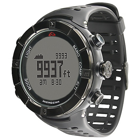 Free Shipping. Highgear Alti-XT SS Watch DECENT FEATURES of the Highgear Alti-XT SS Watch Rotating IPB Stainless Steel Bezel IPB Stainless Steel Buttons Button Lock Option Mineral Glass Lens EL Backlight 50m Water Resistant User Replaceable Battery The SPECS for Altimeter Displays in Feet or Meters Range: -1.640ft to +29.527ft /-500m to +9.000m Resolution: 3ft / 1m Minimum and Maximum Altitude Total Ascent and Descent Graphic Altitude Display Stores up to 80 Altimeter Logbooks with Data Recall The SPECS for Barometer Displays Sea-Level and Absolute Pressure in Millibar (mbar) / Hectopascal (hPa) or Inches of Mercury (inHg) Range: 300mbar (hPa) to 1.100mbar (hPa) / 8.86inHg to 32.48inHg Resolution: 1mbar (hPa) / 0.01inHg Graphic Pressure Trend Display Weather Forecast The SPECS for Digital Compass Range: 360deg / 16 Cardinal Point Bearings Resolution: 1deg Digital Compass Calibration Adjustable Declination Directional Heading Lock Cardinal North Indicator The SPECS for Thermometer Displays in Fahrenheit or Celsius Range: +14deg F to +140deg F / -10deg C to 60deg C Resolution: 0.1deg F / 0.1deg C The SPECS for Chronograph / Timer Range: 100 Hours Resolution: 1/100 Second Measures Splits 100-Hour Countdown Timer The SPECS for Time / Alarms Displays Time in 12-hour or 24-hour Format Time / Day / Date Worldtime with Daylight Savings Time Option Sunrise / Sunset Times 3 Advanced Alarms Hourly Chime - $139.95