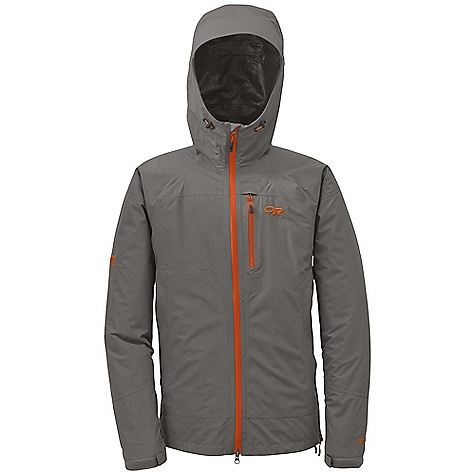 Features of the Outdoor Research Men's Foray Jacket Waterproof Breathable Lightweight Fully Seam Taped Fully Adjustable Hood Water-Resistant and Double-Separating Front Zipper Internal Front-Zip Stormflap Double-Sliding TorsoFlo Hem-To-Bicep Zippers Zippered Napoleon Pocket Two Zippered Hand Pockets Left Hand Pocket Doubles as Stuff Sack Hook/Loop Cuff Closures Drawcord Hem - $215.00