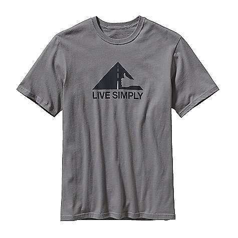 Patagonia Men's Live Simply Thumbs Up T-Shirt DECENT FEATURES of the Patagonia Men's Live Simply Thumbs Up T-Shirt Screen-print inks are PVC-and phthalate-free Taped shoulder seams for comfort Rugged yet comfortable 20 singles 100% organic cotton jersey The SPECS Regular fit Weight: 7.12 oz / 202 g Fabric: 5.4-oz 100% organic cotton This product can only be shipped within the United States. Please don't hate us. - $35.00